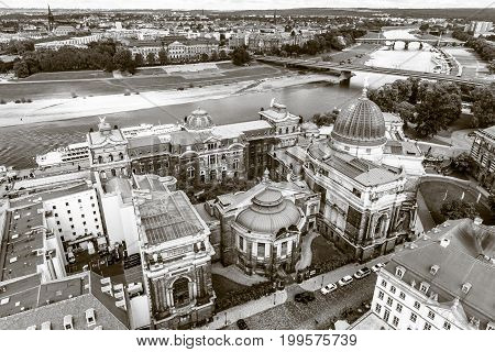 DRESDEN GERMANY - SEPTEMBER 09 2015: The old town. Sepia. Dresden is the capital of Saxony.