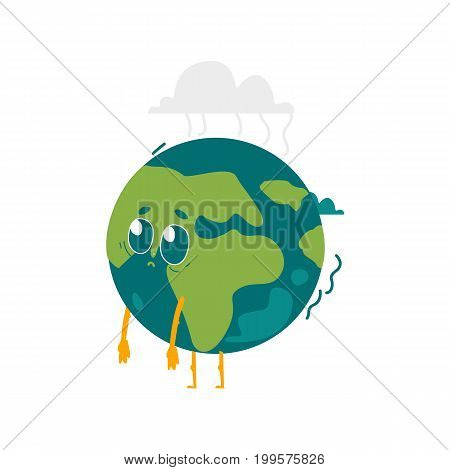 Vector cartoon flat globe sad, upset humanized character with eyes, arms and legs. Expressive emotional illustration isolated on a white background. Save the planet concept
