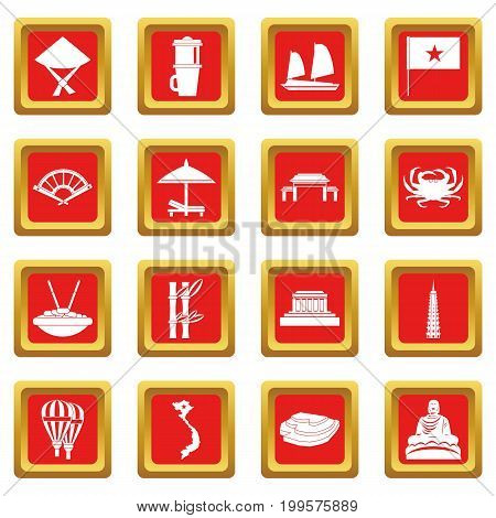 Vietnam travel icons set in red color isolated vector illustration for web and any design