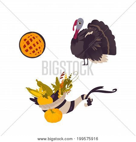Farm hen turkey, pumpkin pie and cornucopia, Thanksgiving symbols, cartoon vector illustration isolated on white background. Cartoon turkey, fruit pie and cornucopia, Thanksgiving Day symbols