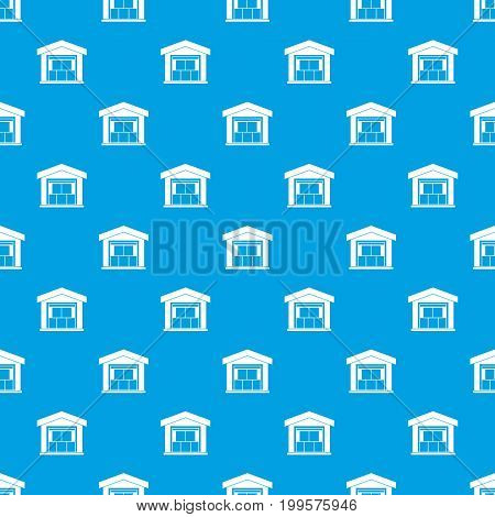 Warehouse building pattern repeat seamless in blue color for any design. Vector geometric illustration