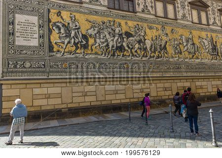 DRESDEN GERMANY - SEPTEMBER 09 2015: Fragment of a large painting