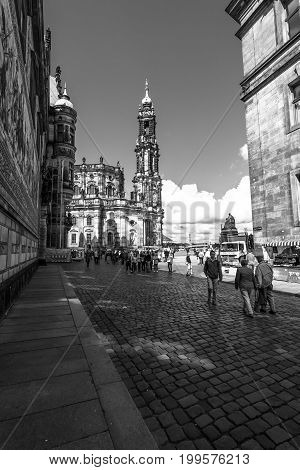 DRESDEN GERMANY - SEPTEMBER 09 2015: Cathedral of the Holy Trinity (Katholische Hofkirche). Black and white. Dresden is the capital city of the Free State of Saxony.