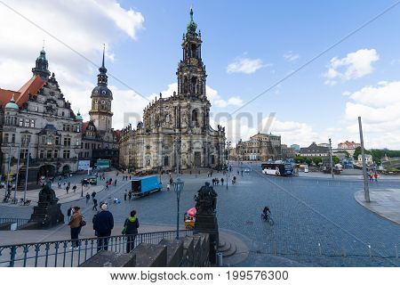 DRESDEN GERMANY - SEPTEMBER 09 2015: Cathedral of the Holy Trinity (Katholische Hofkirche). Dresden is the capital city of the Free State of Saxony.