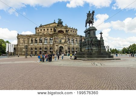 DRESDEN GERMANY - SEPTEMBER 09 2015: Semperoper (Saxon State Opera). The opera house was originally built by the architect Gottfried Semper in 1841.