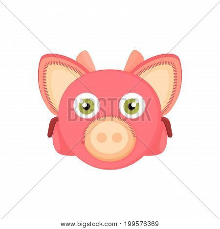 Back to school things for study - an unusual stylized briefcase on the webbing for a cartoon animal. Cartoon pig vector illustration.