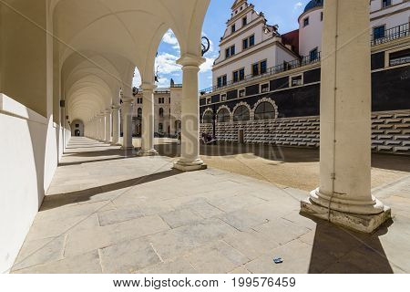 DRESDEN GERMANY - SEPTEMBER 09 2015: Stallhof is a part of the Dresden Castle. In the 17th century and served as a venue for large horse shows.