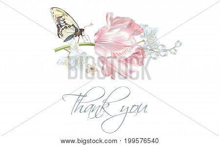 Vector wedding thank you card with elegant pink tulip flower and butterfly isolated on white background. Can be used as floral design for cosmetics, perfume, health care products, greeting cards