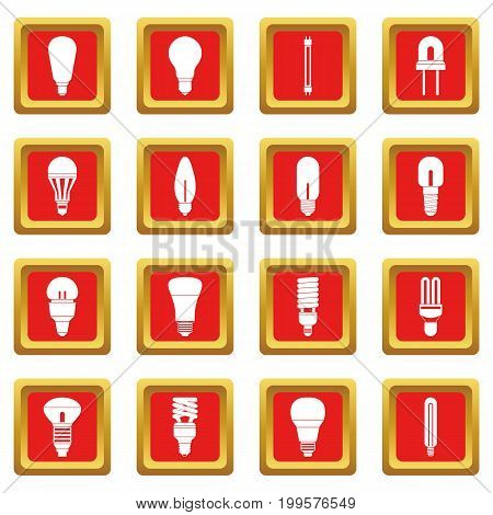 Light bulb icons set in red color isolated vector illustration for web and any design