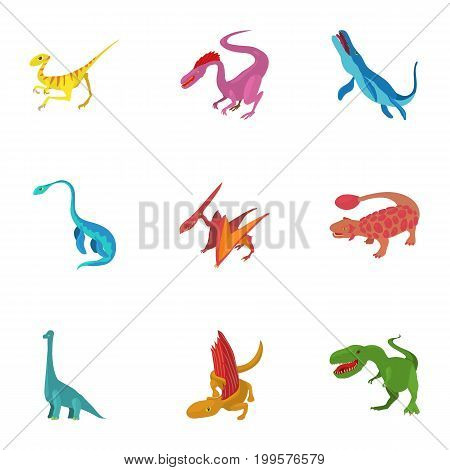Carnivorous dinosaurs icons set. Cartoon set of 9 carnivorous dinosaurs vector icons for web isolated on white background