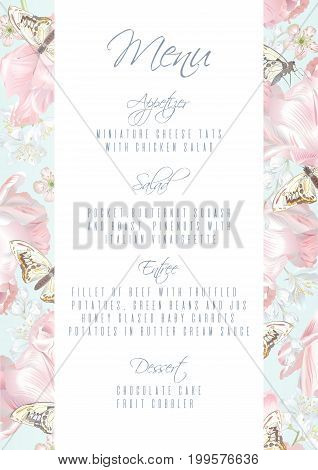 Vector menu template with pink tulip flowers and butterflies on white background. Romantic floral design for wedding ceremony, bridal brunch, engagement, dessert menu. Can be used as greeting card