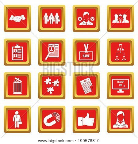 Human resource management icons set in red color isolated vector illustration for web and any design