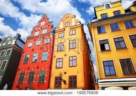 The most famous houses in Stockholm on Stortorget square, Sweden