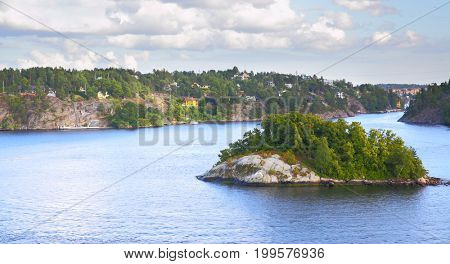 Panoramic view of the islands in the archipelago of Stockholm. Sweden. Water landscape
