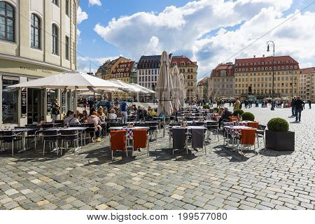 DRESDEN GERMANY - SEPTEMBER 09 2015: Square Neumarkt and street cafes in the old town. Dresden is the capital city of the Free State of Saxony.