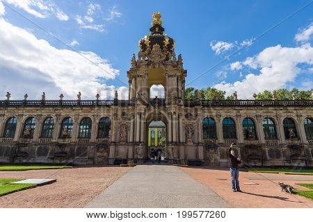 DRESDEN GERMANY - SEPTEMBER 09 2015: The Zwinger (Dresdner Zwinger) is a palace in Dresden in Rococo style was built from the 17th to 19th centuries. Dresden is the capital city of the Free State of Saxony.