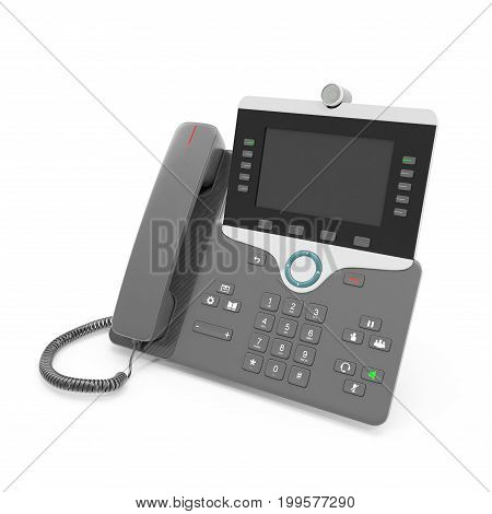 Black IP phone on a white background. 3D illustration