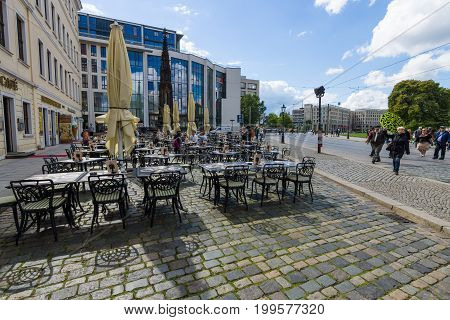 DRESDEN GERMANY - SEPTEMBER 09 2015: Street cafe in old town. Dresden is the capital city of the Free State of Saxony.