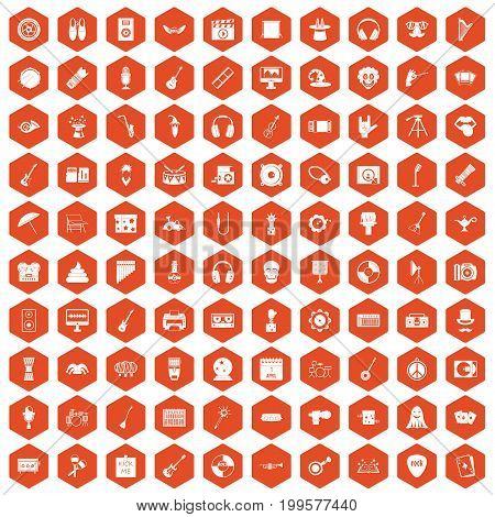 100 show business icons set in orange hexagon isolated vector illustration