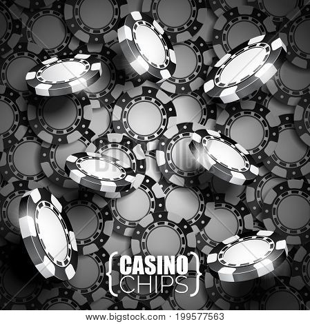 Vector Illustration On A Casino Theme With Black Playing Chips.
