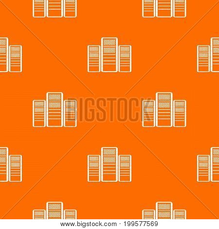 Database servers pattern repeat seamless in orange color for any design. Vector geometric illustration