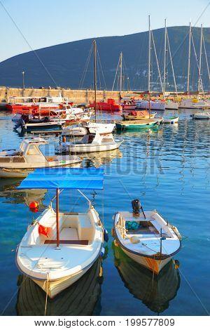 Small boats in port of Herceg Novi, Montenegro