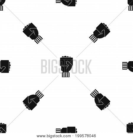 Hand of soccer referee showing card pattern repeat seamless in black color for any design. Vector geometric illustration