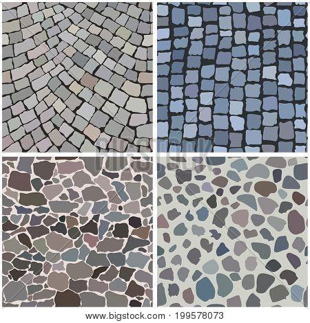 Seamless vector patterns of pavement stones illustration