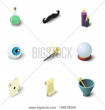 Magician show icons set. Isometric set of 9 magician show vector icons for web isolated on white background
