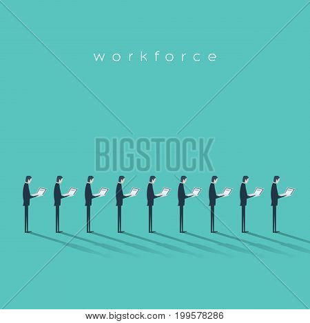 Business workforce vector illustration concept with businessmen doing menial repetitive job. Business outsourcing concept. Eps10 vector illustration