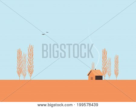 Autumn landscape vector illustration with poplar trees and minimalistic cabin. Fall postcard template concept. Eps10 vector illustration.