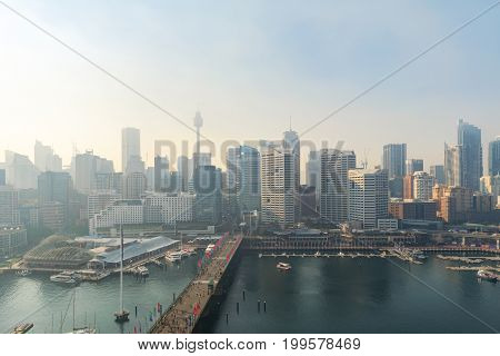 SYDNEY AUSTRALIA - August14 2017 : Smoke from Blue Mountains to Sydney CBD when blue mountains had burn the smoke always come to sydney.