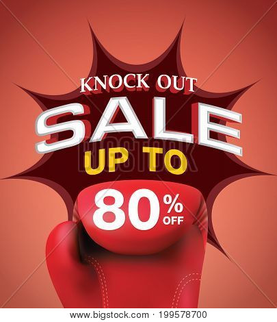 Knock Out Sale 80 Percent Heading Design For Banner Or Poster. Sale And Discounts Concept. Vector Il