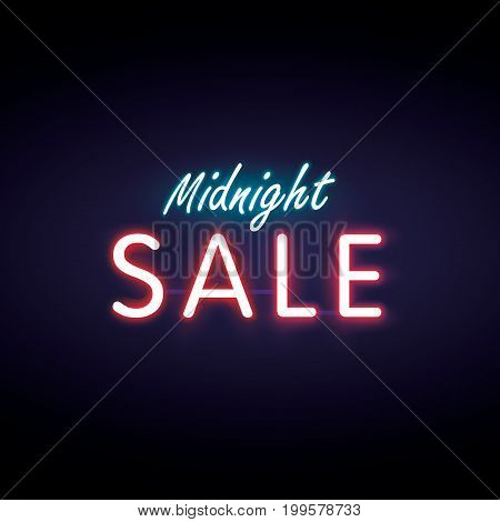 Midnight Sale 01 Neon Style Heading Design For Banner Or Poster. Sale And Discounts Concept. Vector