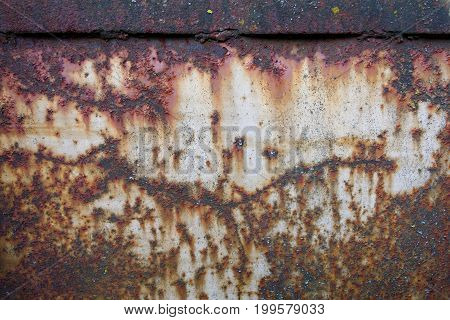 Rusty metal background with severe corrosion and damage