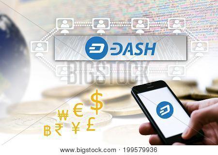 Concept of DASH Coin a Cryptocurrency blockchain platform Digital money