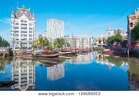 Rotterdam The Nederlands - July 18 2016: The Wijnhaven canal area with the Art Nouveau style White House palace