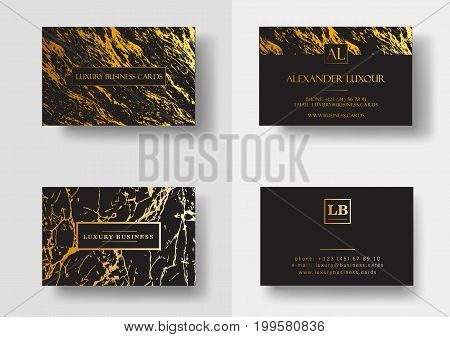 Elegant black luxury business cards with marble texture and gold detail vector template, banner or invitation with golden foil details. Branding and identity graphic design.