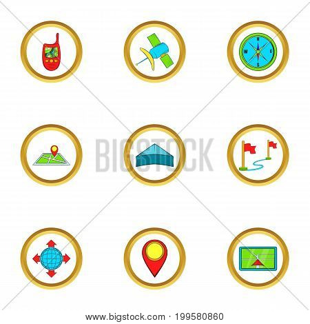Location icons set. Cartoon set of 9 location vector icons for web isolated on white background