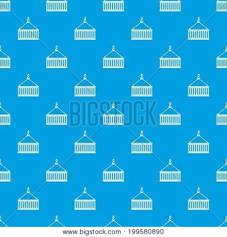Crane hook lifts container pattern repeat seamless in blue color for any design. Vector geometric illustration