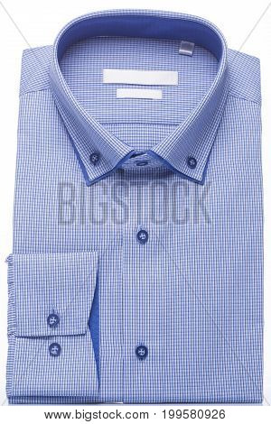 Man's shirt blue on a white background. Vertical