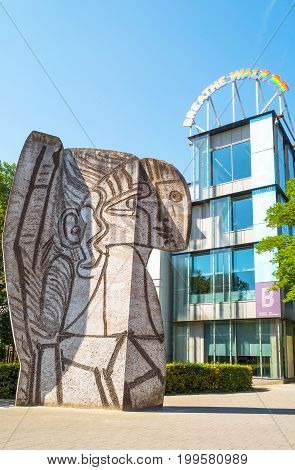 Rotterdam The Nederlands - July 18 2016: Sylvette a sculpture by Pablo Picasso in front of the Boijmans Museum