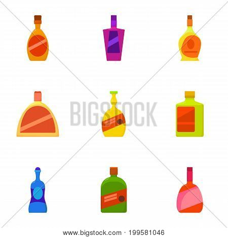 Expensive bottle icons set. Cartoon set of 9 expensive bottle vector icons for web isolated on white background