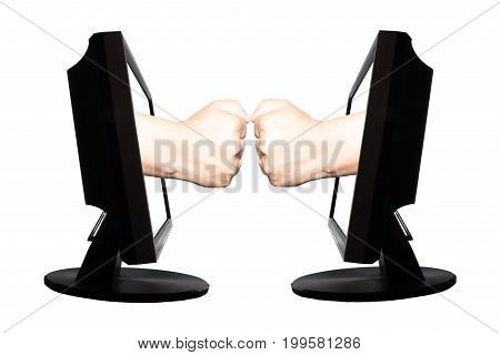 Virtual game by internet stone - scissors - paper thwo hands represent stone and stone from displays on white background.