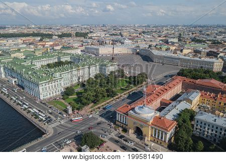 Aerial view of Palace Square in Saint-Petersburg