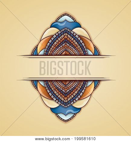 Abstract colorful frame on beige background. Illustration 10 version