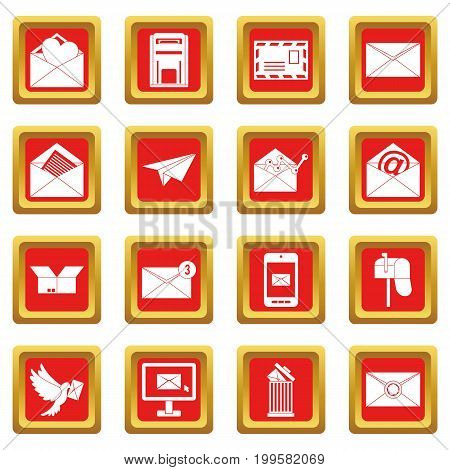 Email icons set in red color isolated vector illustration for web and any design
