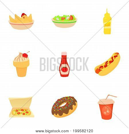 Fast food menu icons set. Cartoon set of 9 fast food menu vector icons for web isolated on white background