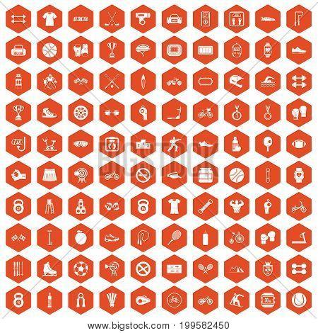 100 sport icons set in orange hexagon isolated vector illustration