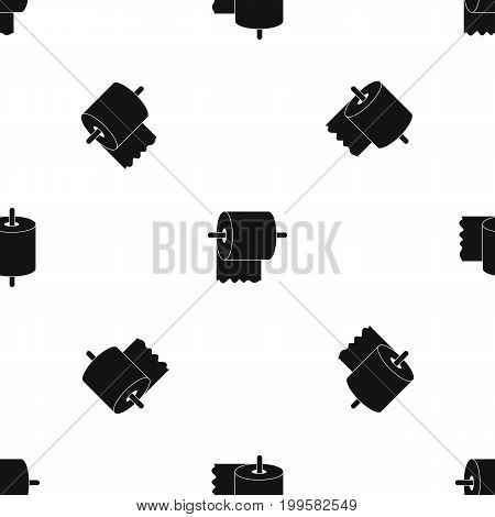 Roll of toilet paper on holder pattern repeat seamless in black color for any design. Vector geometric illustration